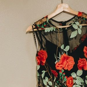 Missguided//Rose embroidered mini dress
